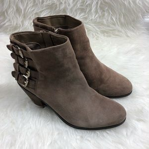 Sam Edelman Taupe Buckle Ankle Boots